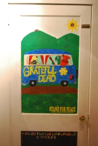 The mural on the boys' closet door.