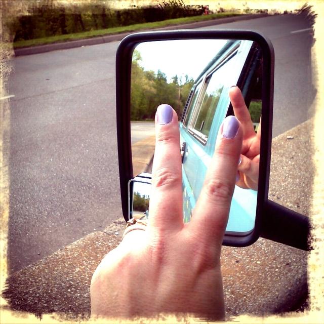 Peace and pretty purple nail polish!